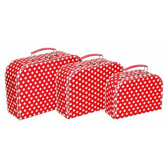 Mini Nesting Suitcases Red and White Polka Dot