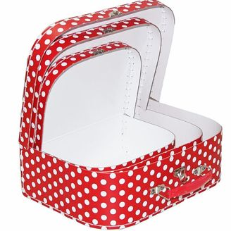 Nesting Suitcases red and white polka dot